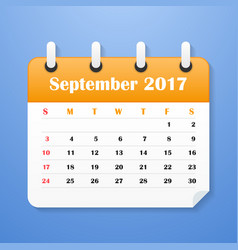 Usa calendar for september 2017 vector
