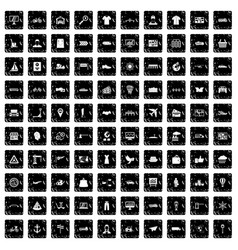 100 logistic and delivery icons set grunge style vector