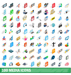 100 media icons set isometric 3d style vector image vector image