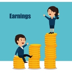 Cartoon money earnings design isolated vector