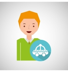 Man tourist traveler taxi icon design graphic vector