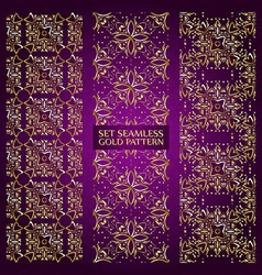Set of golden lace pattern purple vector