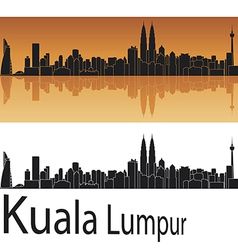 Kuala Lumpur skyline in orange background vector image
