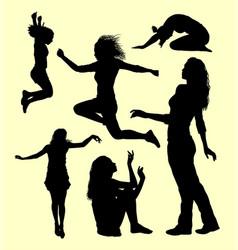 Female gesture silhouette vector