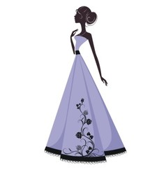 Silhouette of a beautiful girl in evening dress vector image