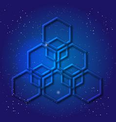 Hexagonal 3d design made in cosmic style sacral vector