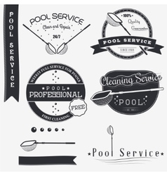 Pool service clean and repair set of typographic vector
