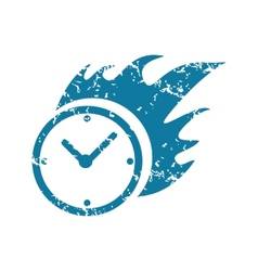 Grunge burning clock icon vector