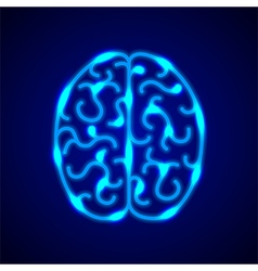 Brain from blue neon lines background vector