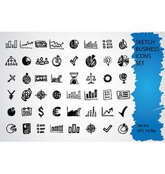Sketched icon set vector image