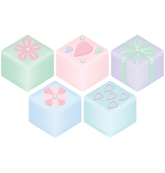 Assortment of petit fours small cakes vector