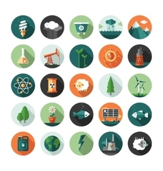 Modern flat design conceptual ecological icons and vector