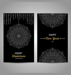 Merry Christmas decorative cards with snowflake vector image