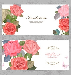 Vintage invitation cards with lovely roses with vector