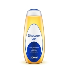 Oil shower gel bottle of shampoo with-label yellow vector