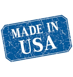 Made in usa blue square grunge stamp vector