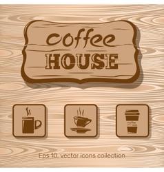 Cofee house icon collection vector