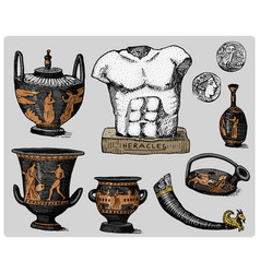 Ancient greece antique symbols greek coins vector