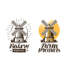 Ancient windmill mill logo or label agriculture vector