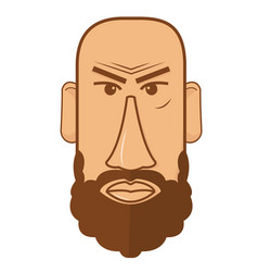 avatar of bald male with beard vector image vector image