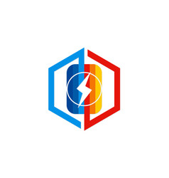 Battery icon technology logo vector