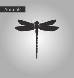 Black and white style icon of dragonfly vector
