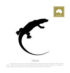 black silhouette of varan animals of australia vector image