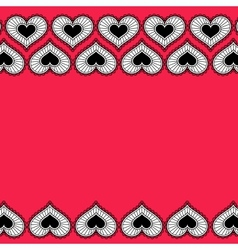 Card with ornament from hearts for Valentine vector image