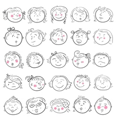 Cartoon face of girl set vector image vector image