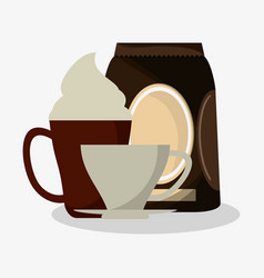 Cup of capuccino with cream and bag of coffee with vector