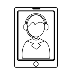 Electronic device with avatar man on the screen vector