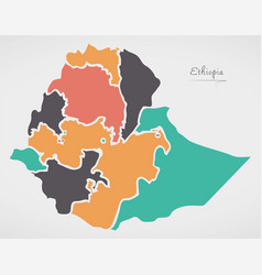 Ethiopia map with states and modern round shapes vector