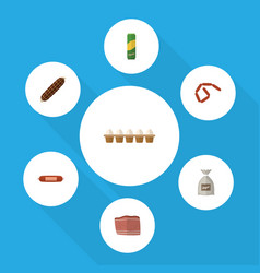 Flat icon food set of beef spaghetti bratwurst vector