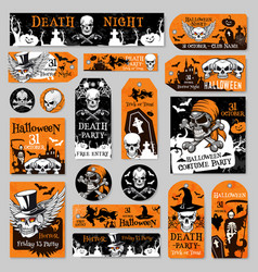 Halloween tag and label fot holiday party design vector