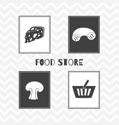 Hand drawn silhouettes food store posters vector