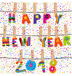 Happy new year 2018 word hanging in clothes pegs vector