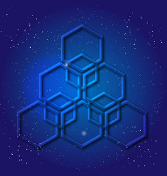 hexagonal 3d design made in cosmic style sacral vector image vector image