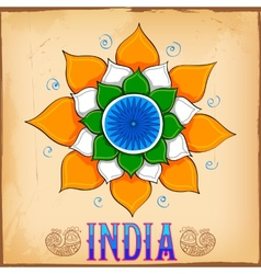 Indian kitsch art style background with lotus vector image