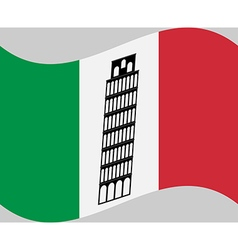 Isa tower on background of italy flag vector