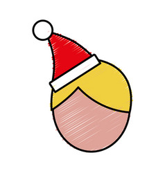 Man with christmas hat icon vector