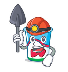 Miner yogurt mascot cartoon style vector