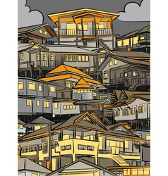 Night houses vector