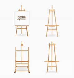 paint desk wooden easel template with vector image vector image