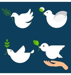 Peace dove icon set vector