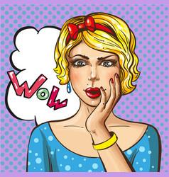 pop art wonder girl vector image