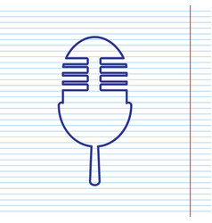Retro microphone sign navy line icon on vector