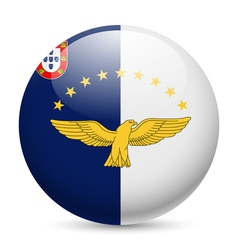 Round glossy icon of azores vector