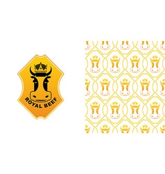 Royal Beef logo Cow in crown Excellent quality vector image