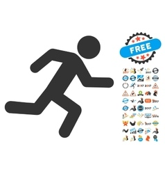 Running man icon with 2017 year bonus symbols vector