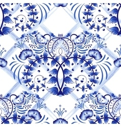 Seamless blue floral pattern with lattice strips vector image vector image